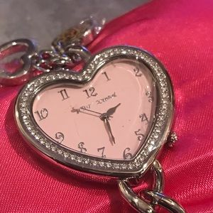 Pink heart crystal rhinestone watch Betsey Johnson